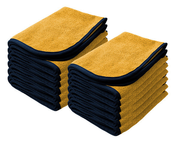 "YELLOW Power Shine Microfiber Towel w/ BLK silk edge 16"" x 24"" 380GSM - 12pk"