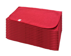 "RED Waffle Wave Microfiber Waffle Towel 16"" x 24"" 360GSM - 12pk"