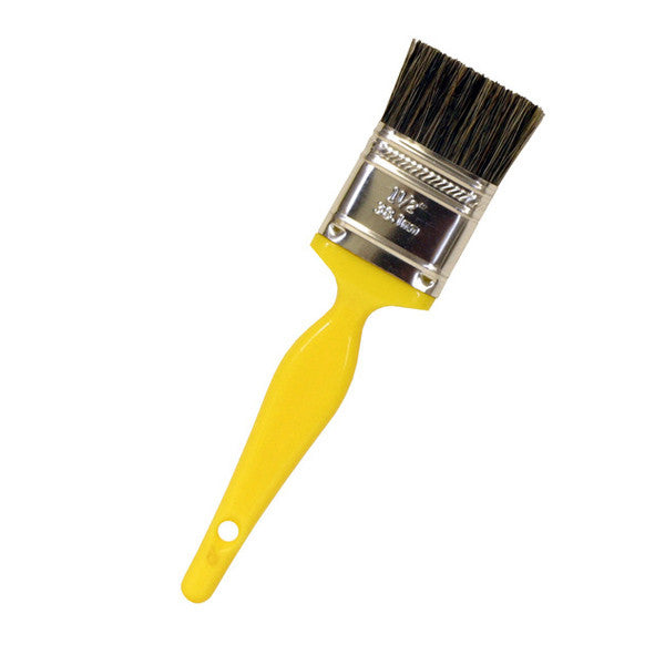 "7"" Paint Brush Style Detail Brush w/ 1"" Double-Thick Gray China Bristle"