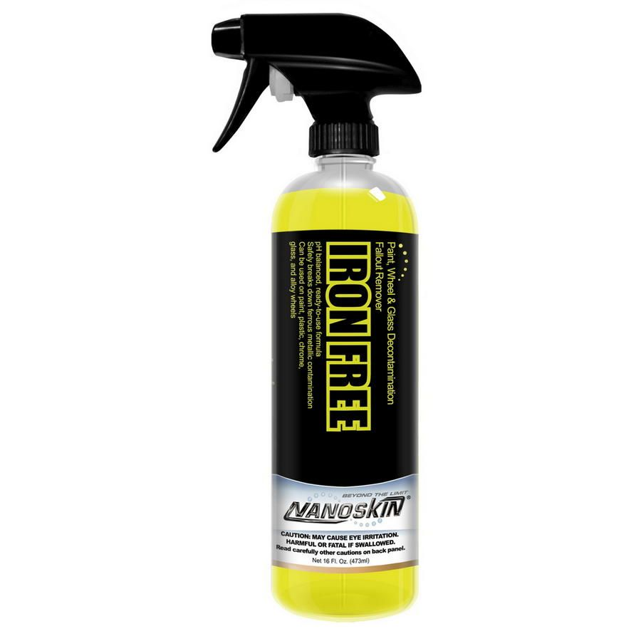 • Acid-free, pH balanced paint & wheel cleaner / fallout remover<br>• IRON FREE safely breaks down ferrous metallic contamination caused by automotive brakes, rail travel, and construction<br>• Decontaminates delicate paint, plastic, chrome, glass, and alloy wheels<br>• IRON FREE sprays on fluorescent green and turns reddish as it reacts with the iron particulates making it easier to remove