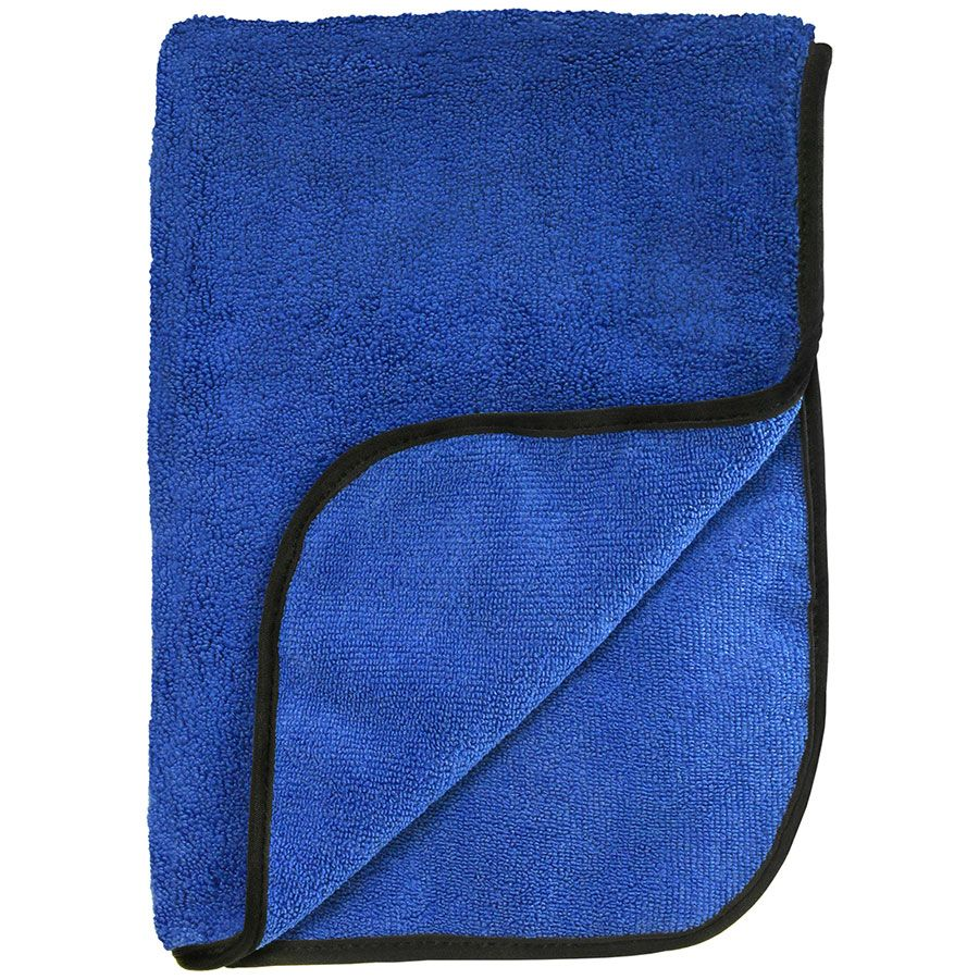 "12 BLUE Super Ultra Plush Microfiber Towels w/ Black Piping 16""x 24"" 500GSM"