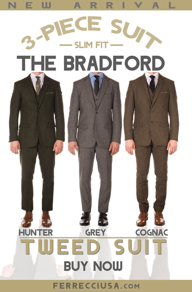 Bradford - Classic vintage, 3 piece tweed suit comes in Hunter Green, Grey and Cognac.