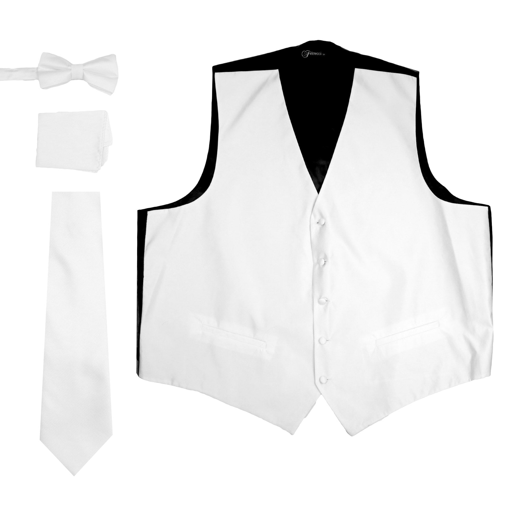 Ferrecci Mens Solid White Wedding Prom Grad Choir Band 4pc Vest Set