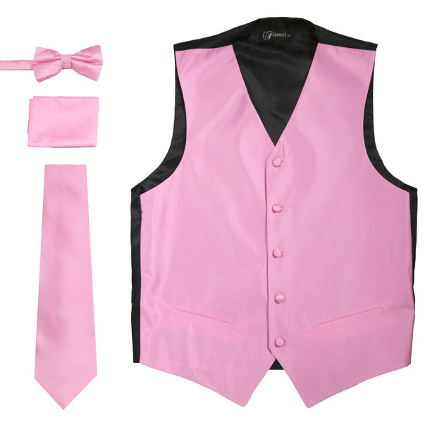 Ferrecci Mens Solid Rose Wedding Prom Grad Choir Band 4pc Vest Set - Ferrecci USA