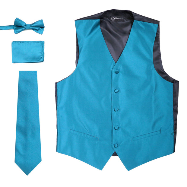 Ferrecci Mens Solid Teal Wedding Prom Grad Choir Band 4pc Vest Set - Ferrecci USA