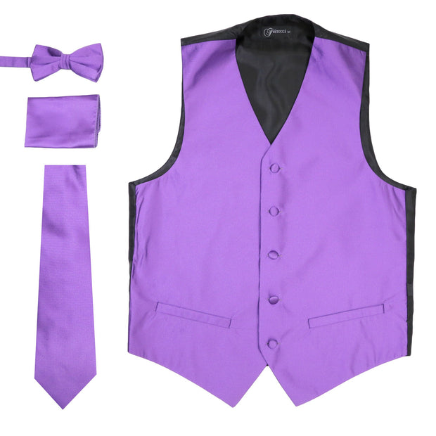 Ferrecci Mens Solid Purple Wedding Prom Grad Choir Band 4pc Vest Set - Ferrecci USA