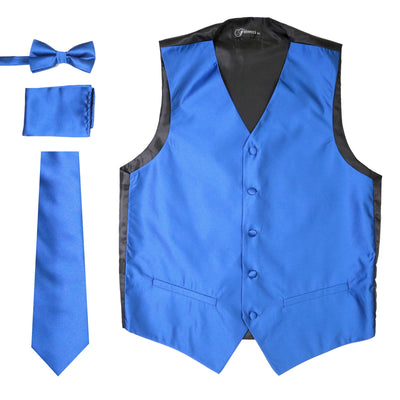 Ferrecci Mens Solid Royal Wedding Prom Grad Choir Band 4pc Vest Set - Ferrecci USA