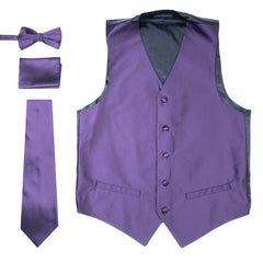 Ferrecci Mens Solid Dark Purple Wedding Prom Grad Choir Band 4pc Vest Set