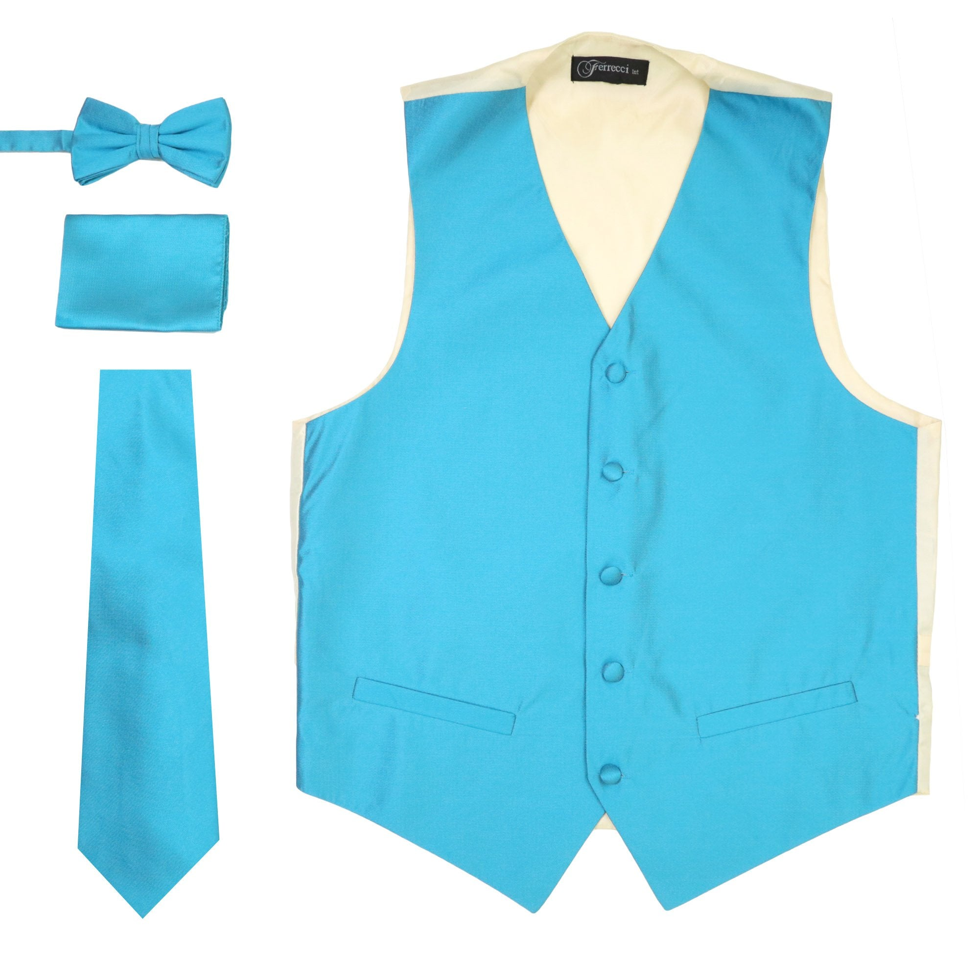 Ferrecci Mens Solid Light Blue-Cream Wedding Prom Grad Choir Band 4pc Vest Set