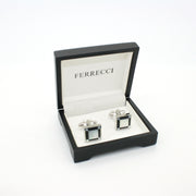 Silvertone Black and White Square Cuff Links With Jewelry Box