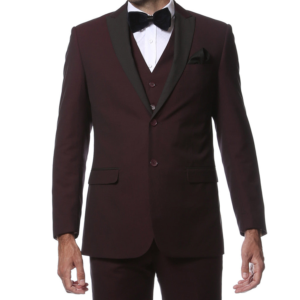 The Alta Moda 3pc Peak Lapel Burgundy Super Slim Tuxedo