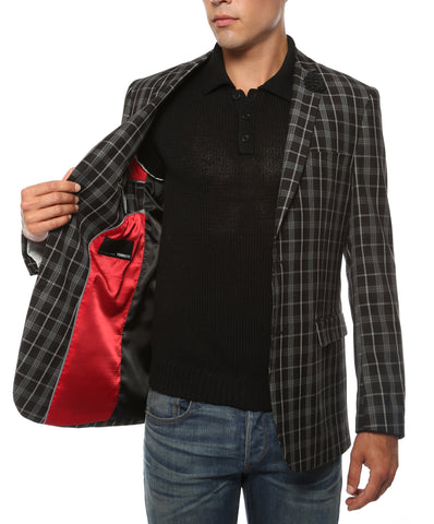 The Alton Plaid Slim Fit Mens Blazer