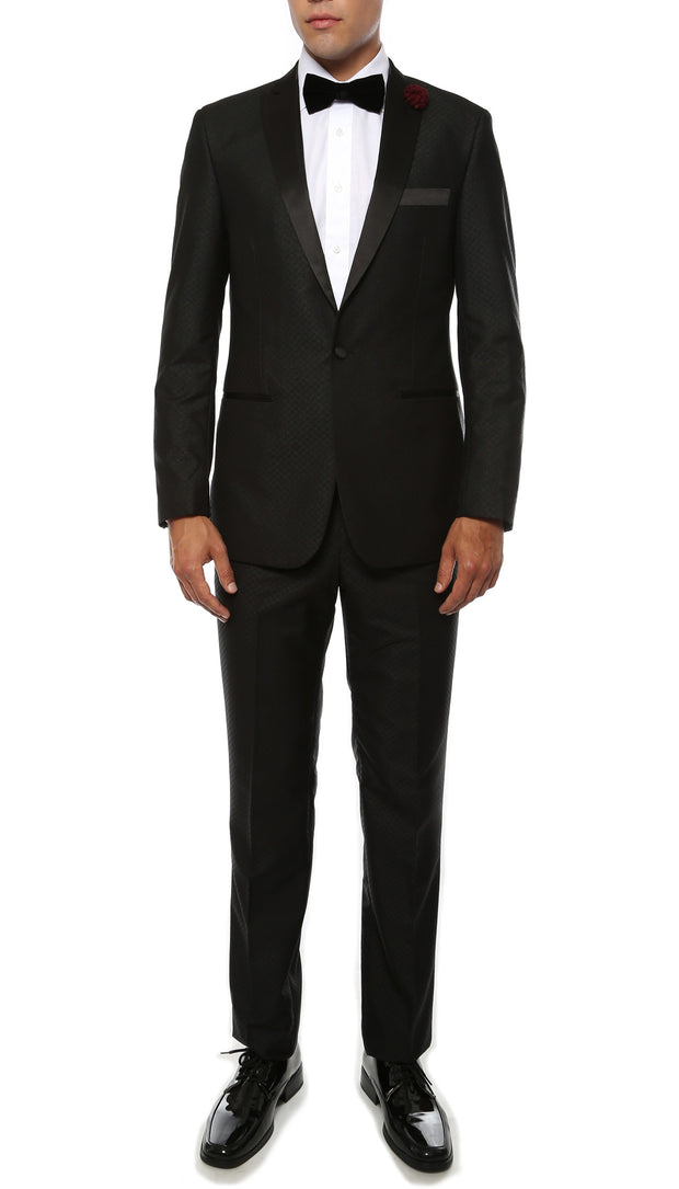 The Artemis Mens Geometric Slim Fit 2pc Tuxedo - Ferrecci USA