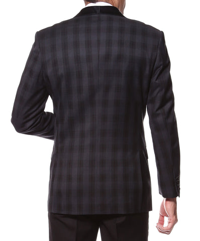 The Astor Black Plaid Slim Shawl Tuxedo Blazer
