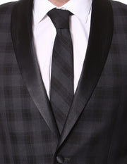 The Astor Black Plaid Slim Shawl Tuxedo Blazer - Ferrecci USA