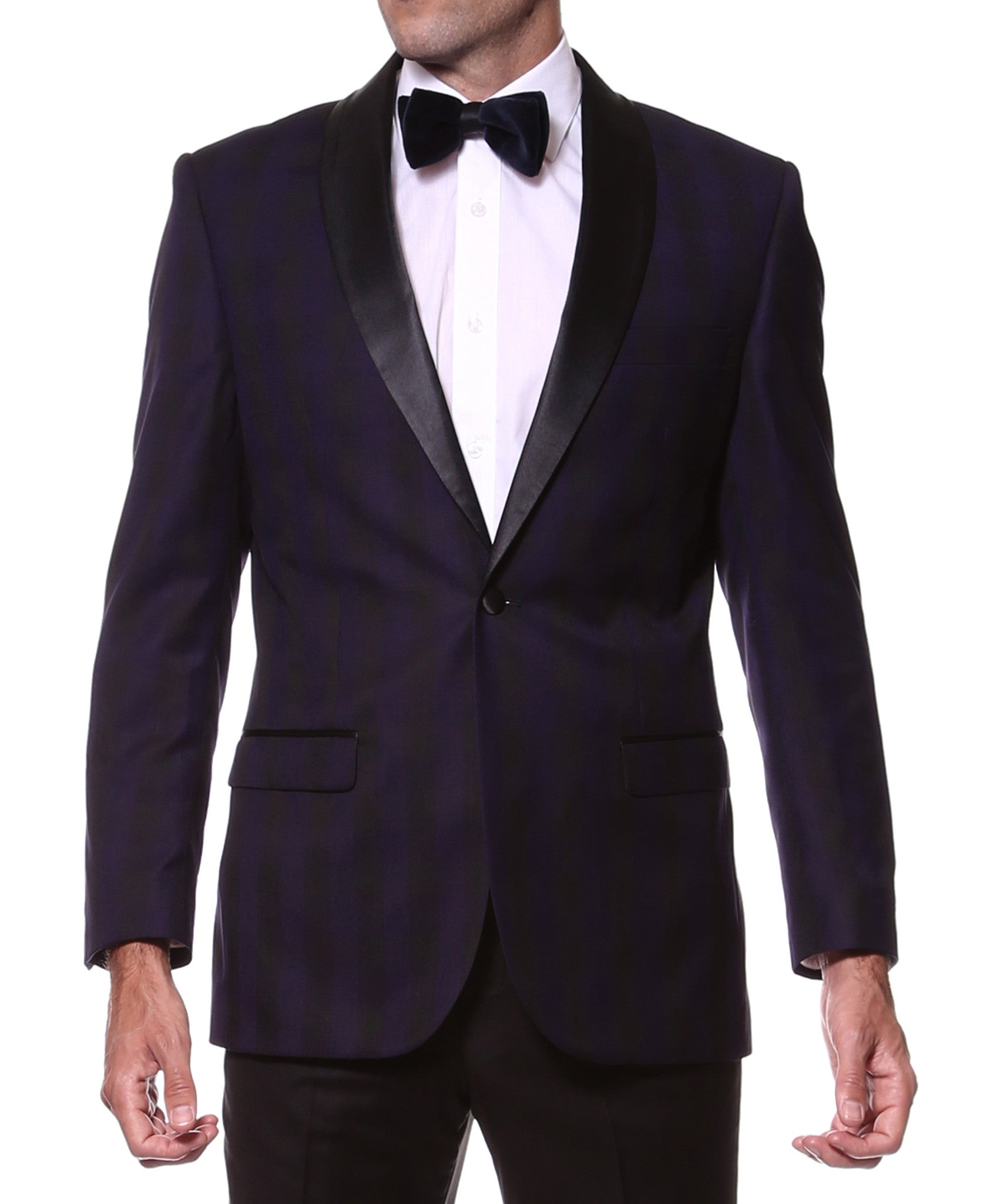 The Astor Purple Plaid Slim Shawl Tuxedo Blazer