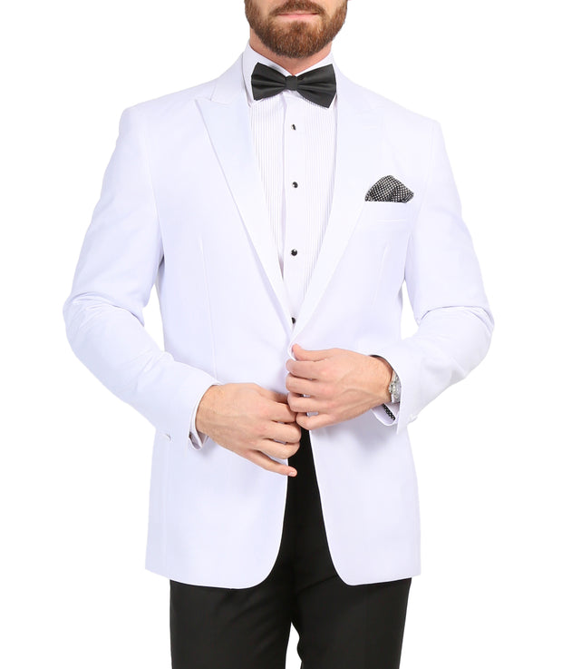 Ferrecci Men's Aura White Slim Fit Peak Lapel Tuxedo Dinner Jacket - Ferrecci USA