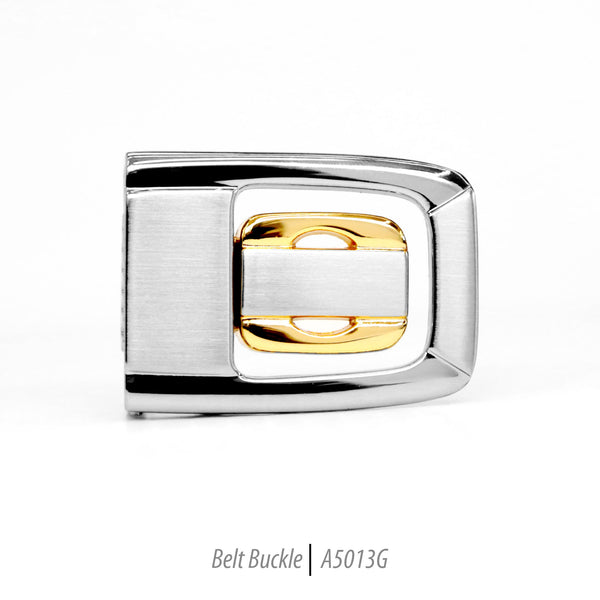 silver and gold stainless steel belt buckle