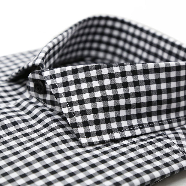 Black Gingham Check Slim Fit Shirt - Ferrecci USA
