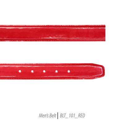 red mens shiny leather belt