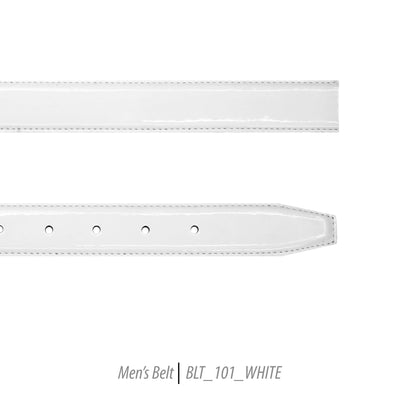 mens white shiny leather belt
