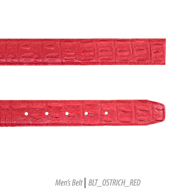 Ferrecci Mens 100% Genuine Leather Red Belt w/Ostrich Top - One size Fits All
