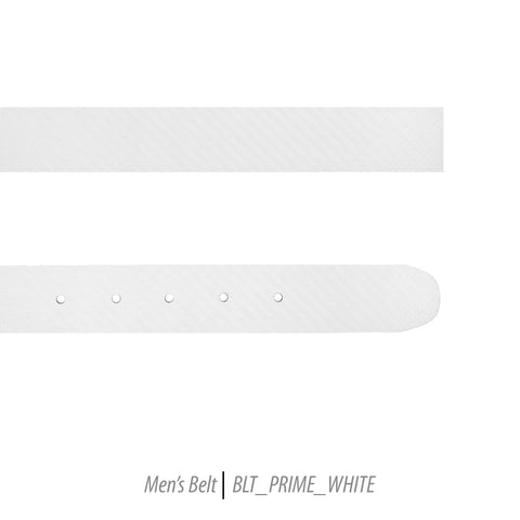 Ferrecci Mens 100% Genuine Prime White Leather Belt - One size Fits All