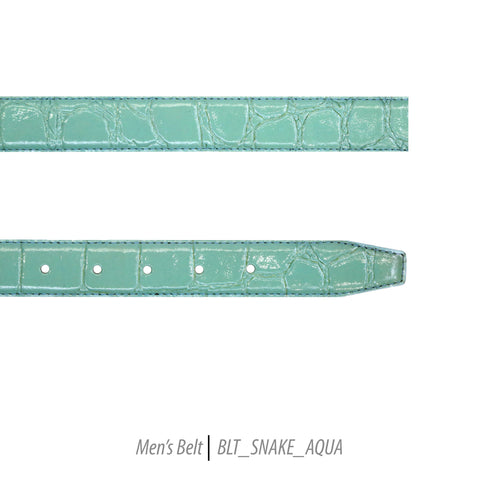 Ferrecci Mens 100% Genuine Leather Aqua Belt w/Snake Top - One size Fits All