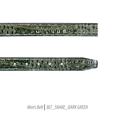 Ferrecci Mens 100% Genuine Leather Dark Green Belt w/Snake Top - One size Fits All - Ferrecci USA