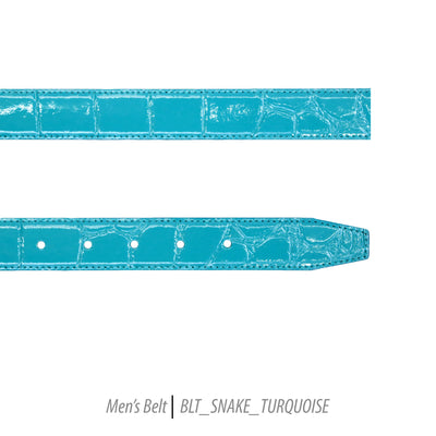 Ferrecci Mens 100% Genuine Leather Turquoise Belt w/Snake Top - One size Fits All - Ferrecci USA