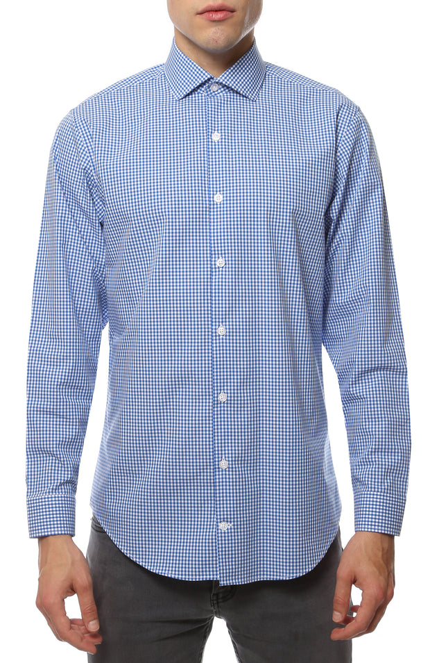 Blue Gingham Check Dress Shirt - Slim Fit - Ferrecci USA