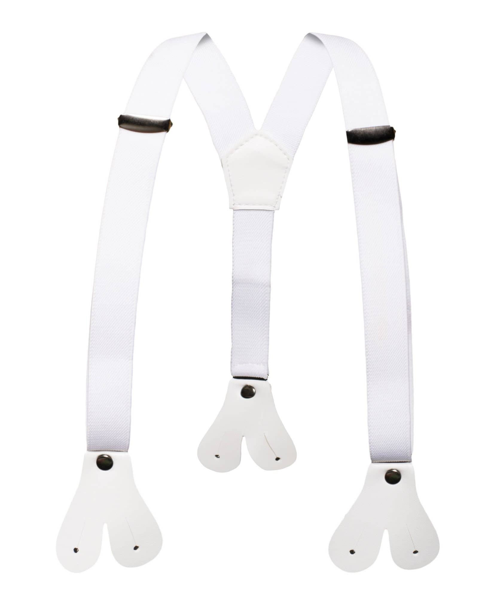 Ferrecci Premium Boys White Button End Suspenders