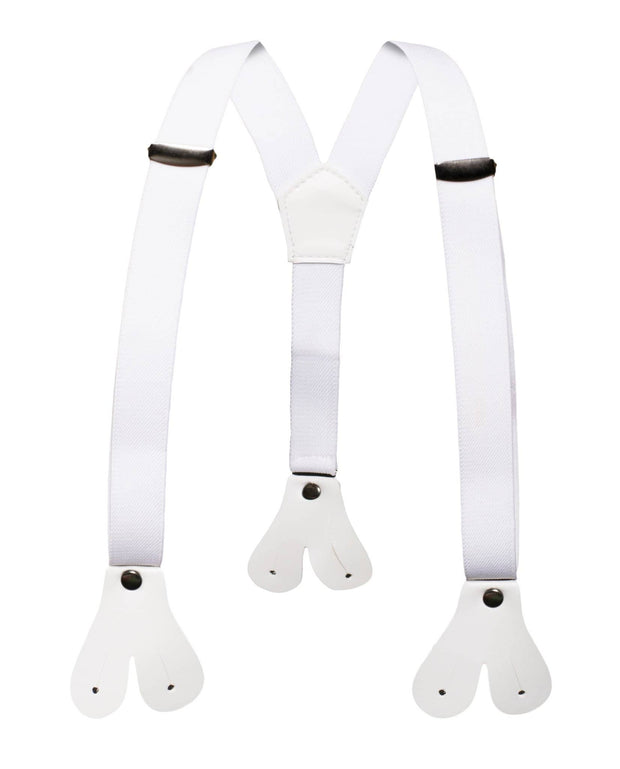 Boys White Button End Suspenders - Ferrecci USA