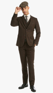 Bradford Cognac Slim Fit 3 Piece Tweed Suit - Ferrecci USA