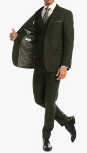 Bradford Hunter Green Slim Fit 3 Piece Tweed Suit - Ferrecci USA