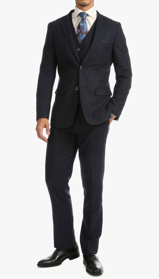 Bradford Navy Tweed With Slim Fit Suit With Five Button Vest - Ferrecci USA