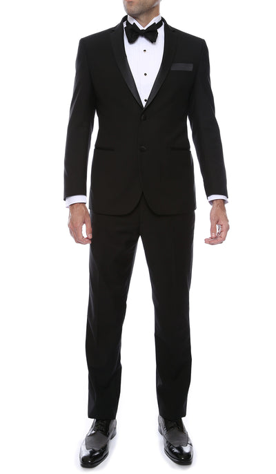 Bronson Black Slim Fit Notch Collar Lapel 2 Piece Tuxedo Suit Set - Tux Blazer Jacket and Pants - Ferrecci USA