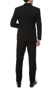 Bronson Black Slim Fit Notch Collar Lapel 2 Piece Tuxedo Suit Set - Tux Blazer Jacket and Pants