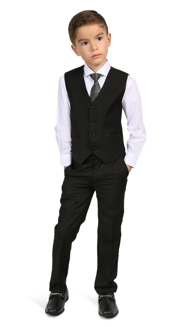 Ferrecci Boys Bronson Jr Black 5 Piece Notch Lapel Tuxedo Set - Ferrecci USA