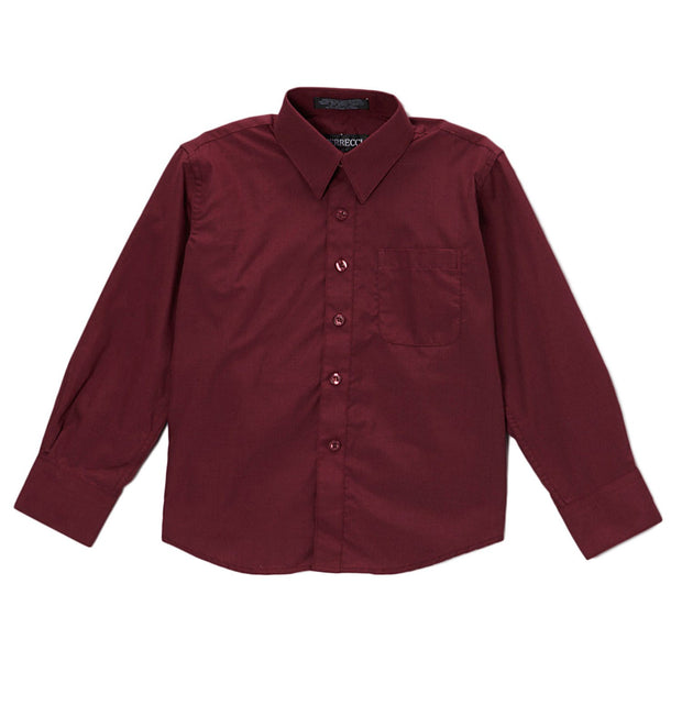 Premium Solid Cotton Blend Burgundy Shirt - Ferrecci USA