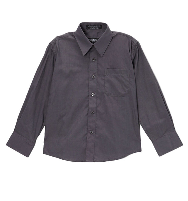 Premium Solid Cotton Blend Charcoal Shirt - Ferrecci USA