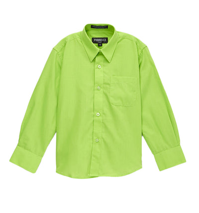 Premium Solid Cotton Blend Lime Green Dress Shirt - Ferrecci USA