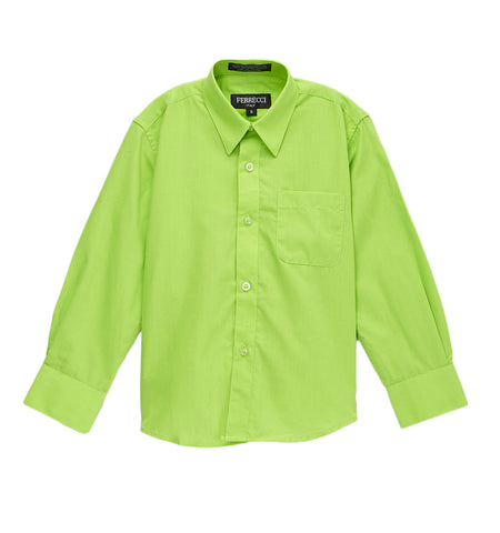Premium Solid Cotton Blend Lime Green Dress Shirt