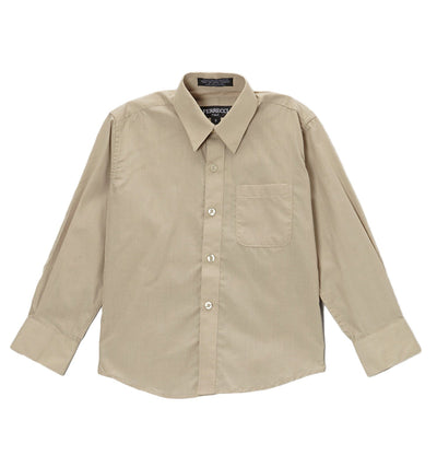 Premium Solid Cotton Blend Khaki Shirt - Ferrecci USA