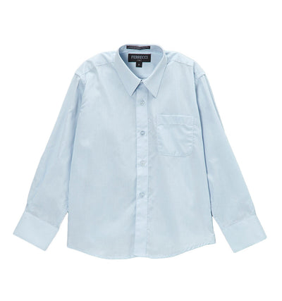 Premium Solid Cotton Blend Light Blue Shirt - Ferrecci USA