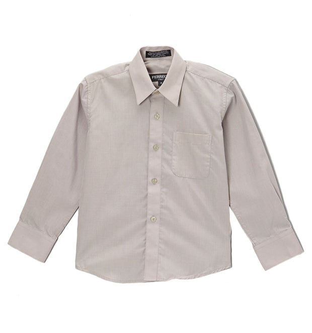 Premium Solid Cotton Blend Light Grey Dress Shirt - Ferrecci USA