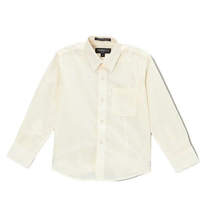 Premium Solid Cotton Blend Off White Dress Shirt - Ferrecci USA