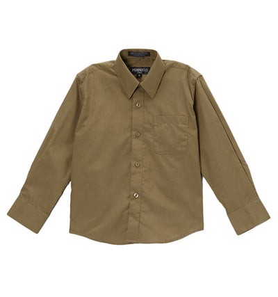 Premium Solid Cotton Blend Olive Dress Shirt - Ferrecci USA