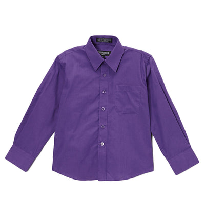 Premium Solid Cotton Blend Purple Dress Shirt - Ferrecci USA
