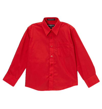 Premium Solid Cotton Blend Red Dress Shirt - Ferrecci USA